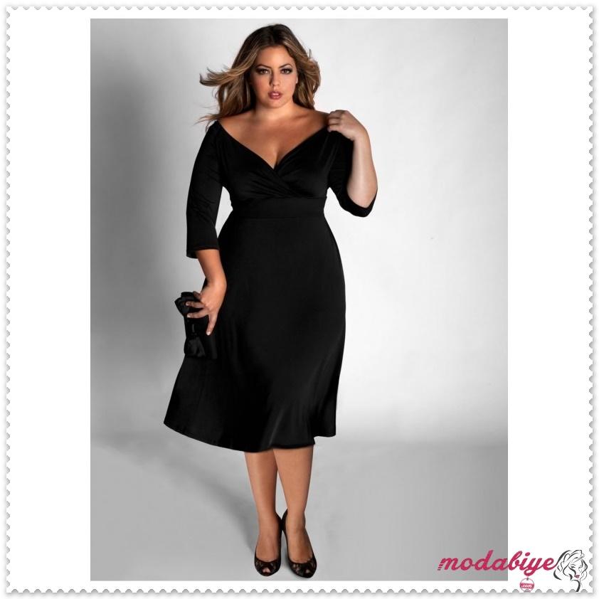 Büyük beden siyah koyu elbise modelleri kilolu şişman kadılar nasıl giyinmeli
