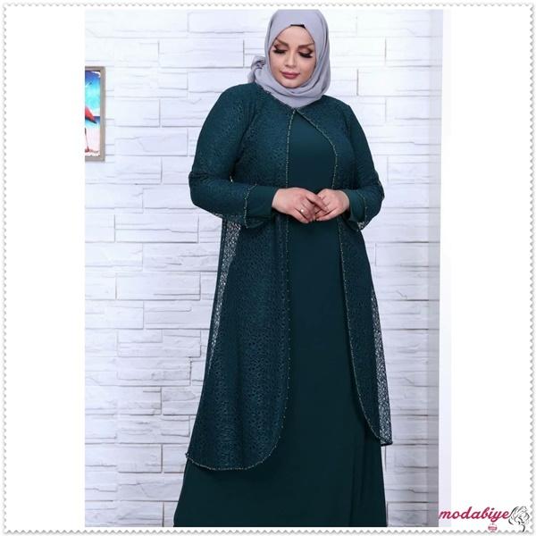Büyük beden yeşil zümrüt tesettür abiye modelleri kilolu şişman kadılar nasıl giyinmeli