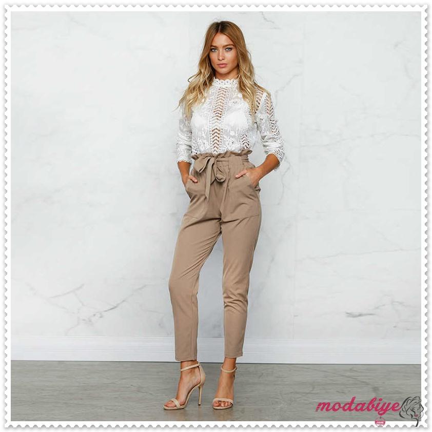 Kahverengi yüksek bel kemerli kalem yazlık pantolon kombinleri