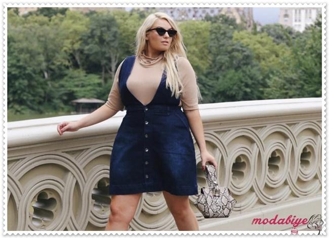 Kilolu kadınlar için kot elbise modelleri kilolu şişman kadılar nasıl giyinmeli