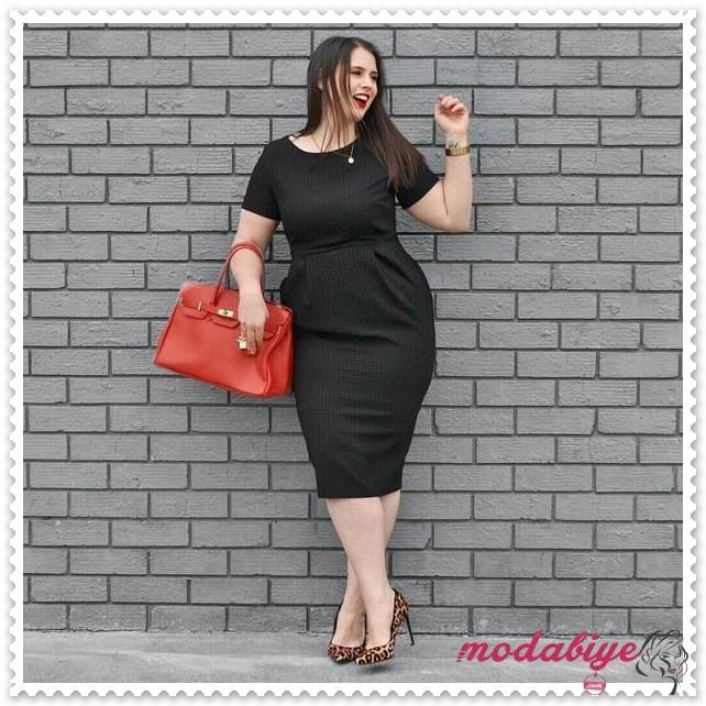 Kilolu kadınlar için siyah elbise modelleri kilolu şişman kadılar nasıl giyinmeli
