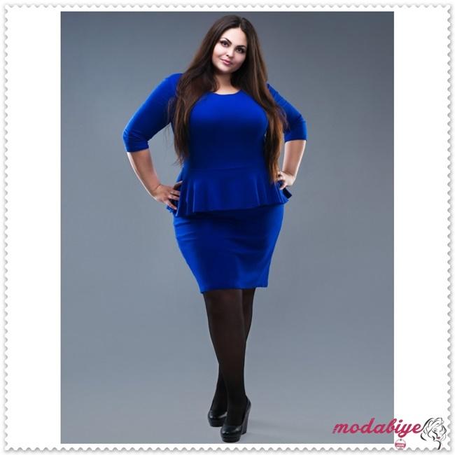 Mavi elastik polyamid büyük beden elbise modelleri