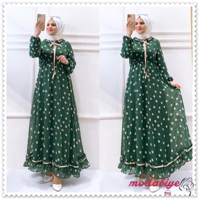 Puantiyeli yeşil astarlı tesettür elbise modelleri