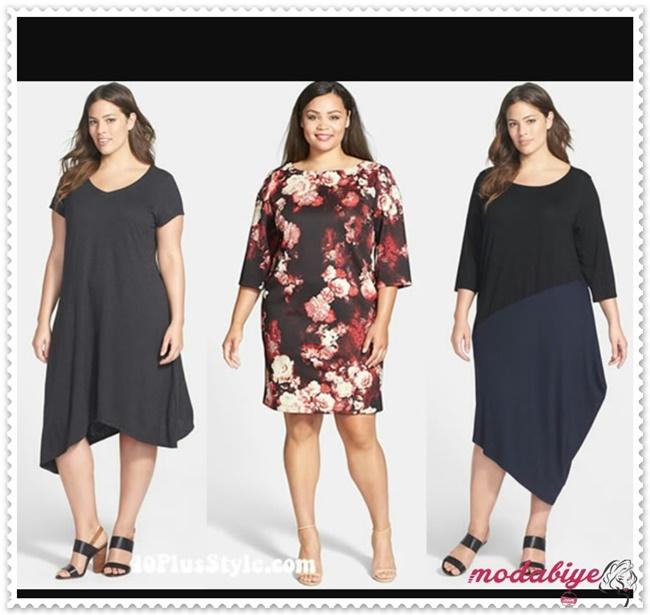 Şişman kadınlar için koyu renk elbise modelleri kilolu şişman kadılar nasıl giyinmeli