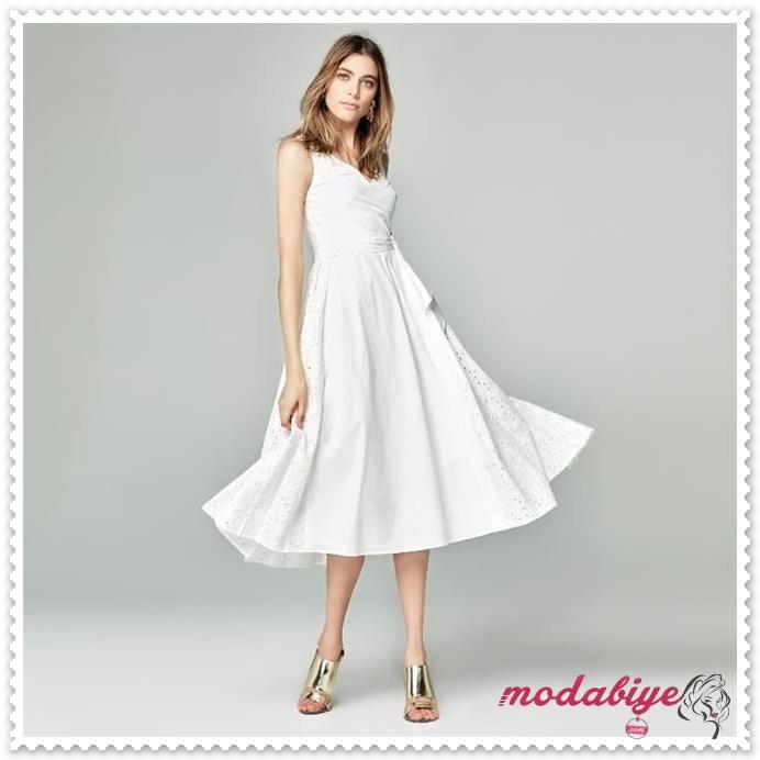 Askılı beyaz uzun yazlık elbise modelleri
