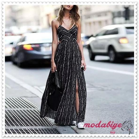 Askılı kolsuz beyaz noktalı siyah uzun yazlık elbise modelleri