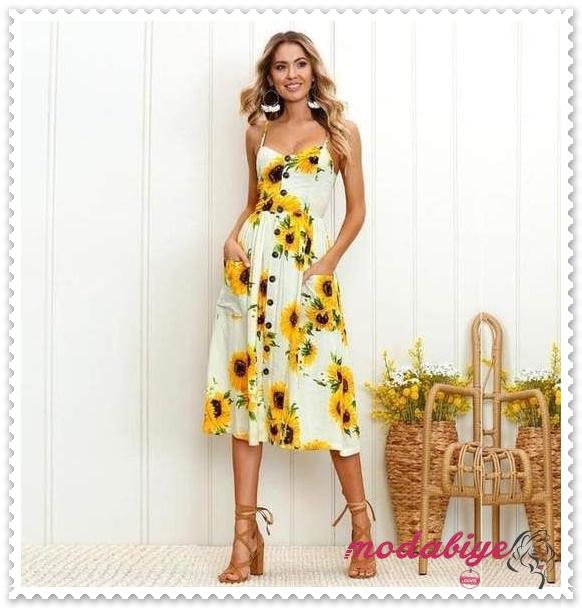 Ayçiçeği baskılı kolsuz uzun yazlık plaj elbisesi modelleri