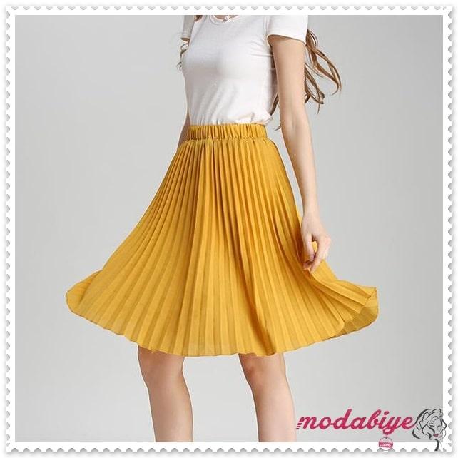 Hardal sarısı midi boy yazlık pileli etek modelleri