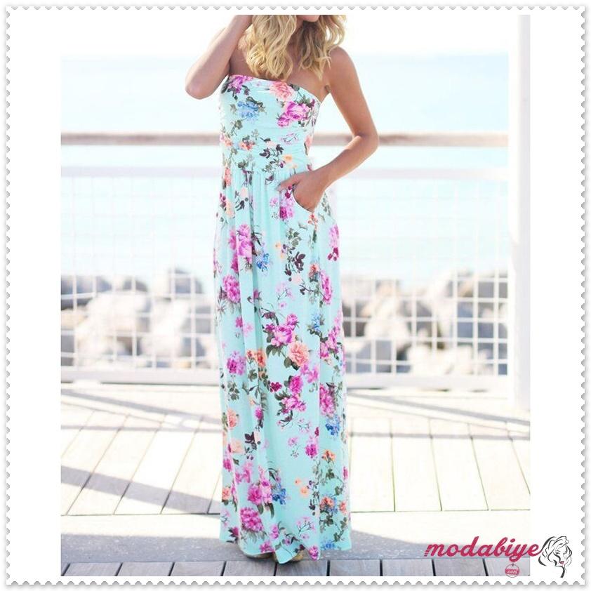 Straplez çiçek baskılı kolsuz uzun yazlık plasj elbise modelleri