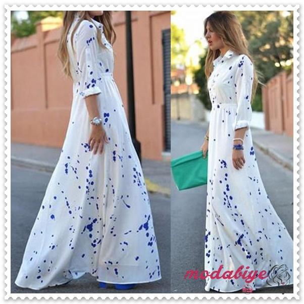 Uzun kollu benek desenli beyaz uzun yazlık elbise modelleri