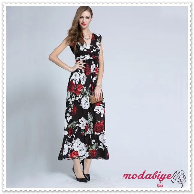 V Yaka kolsuz çiçek desenli uzun yazlık elbise modelleri