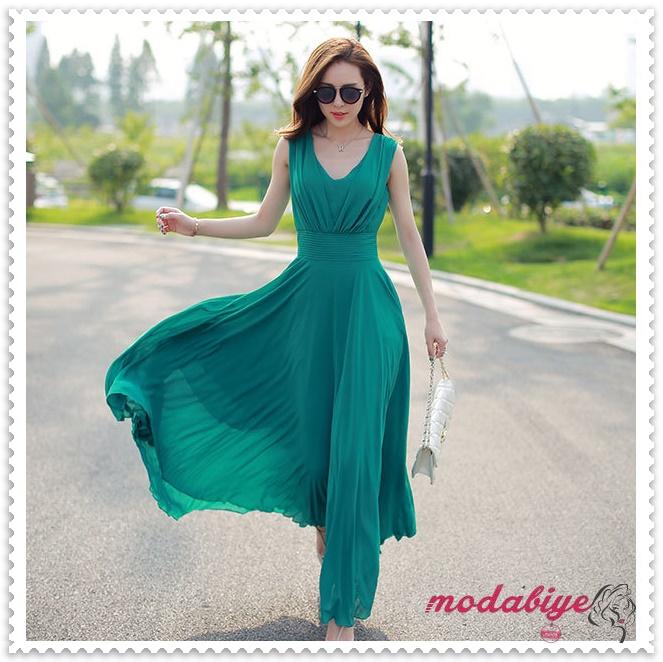 V yaka yeşil uzun yazlık elbise modelleri