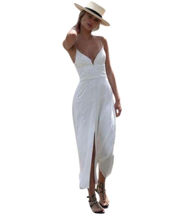 Beyaz Uzun Askılı Elbise Kombini