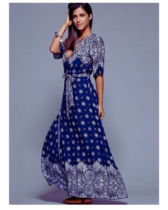 Lacivert Uzun Desenli Elbise Modelleri